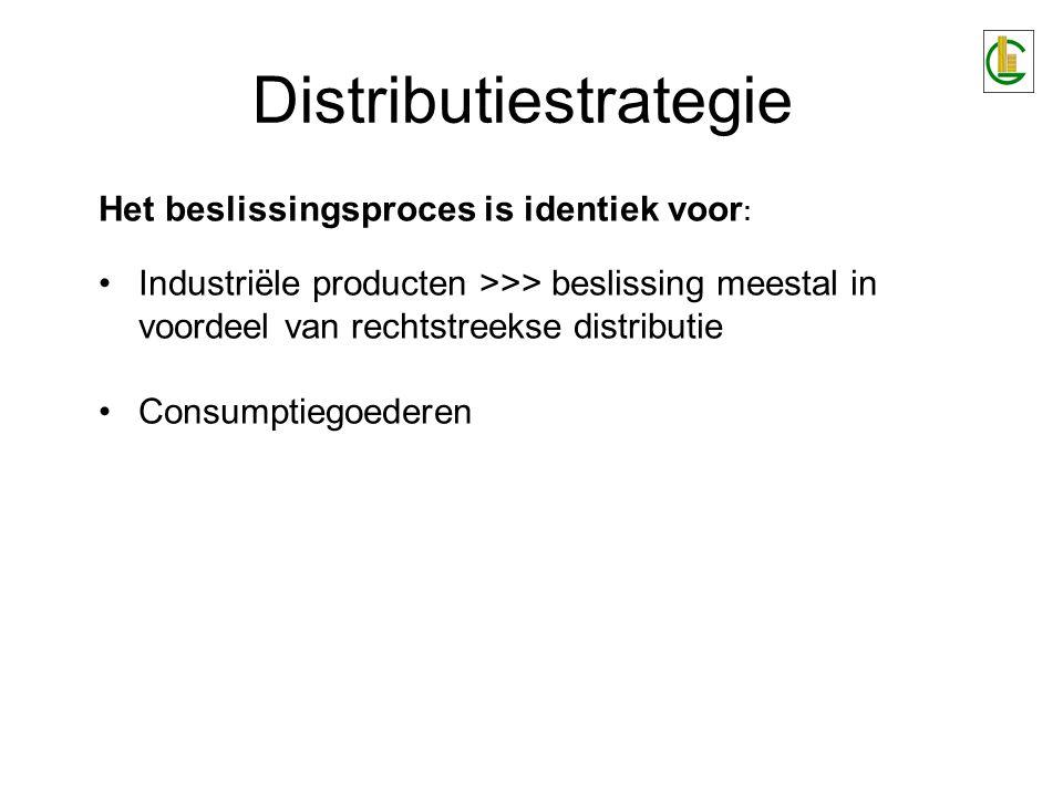 Distributiestrategie Het beslissingsproces is identiek voor : Industriële producten >>> beslissing meestal in voordeel van rechtstreekse distributie C