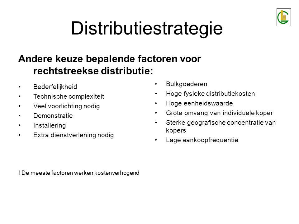 Distributiestrategie Bulkgoederen Hoge fysieke distributiekosten Hoge eenheidswaarde Grote omvang van individuele koper Sterke geografische concentrat