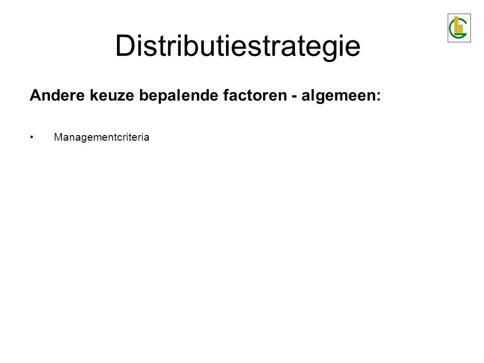 Distributiestrategie Bepalen van het type distributieschakels : 1.Wensen van eindafnemer –inzicht in grote van doelgroepen –hun spreiding –hun koopkracht –hun koopgewoonten 2.Aard van bestaande distributiekanalen 3.Macht van bestaande distributiekanalen