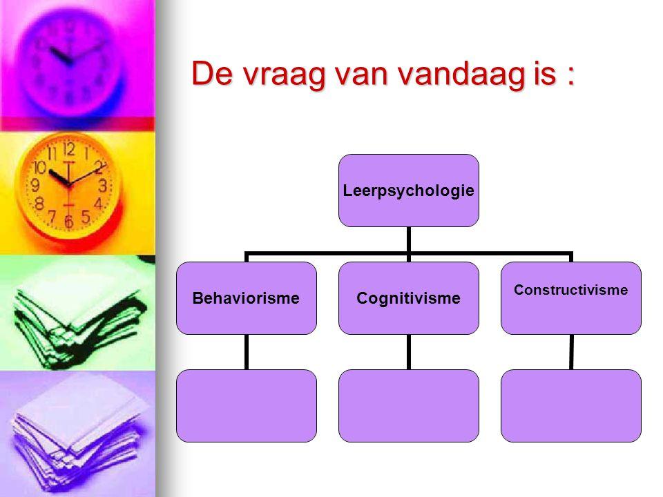 De vraag van vandaag is : Leerpsychologie BehaviorismeCognitivisme Constructivisme