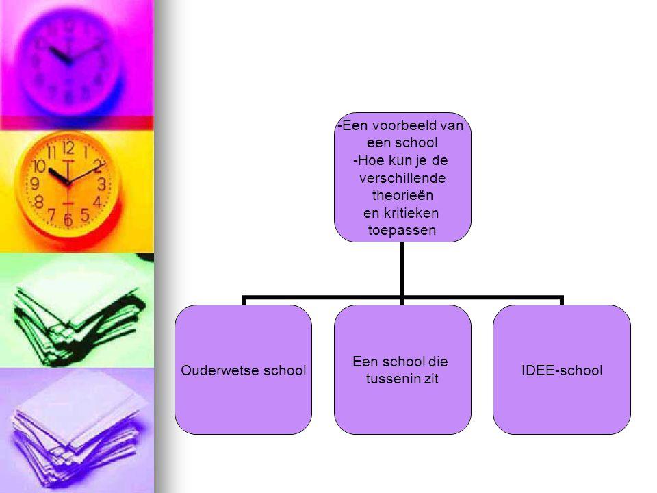 Een voorbeeld van een school -Hoe kun je de verschillende theorieën en kritieken toepassen Ouderwetse school Een school die tussenin zit IDEE-school