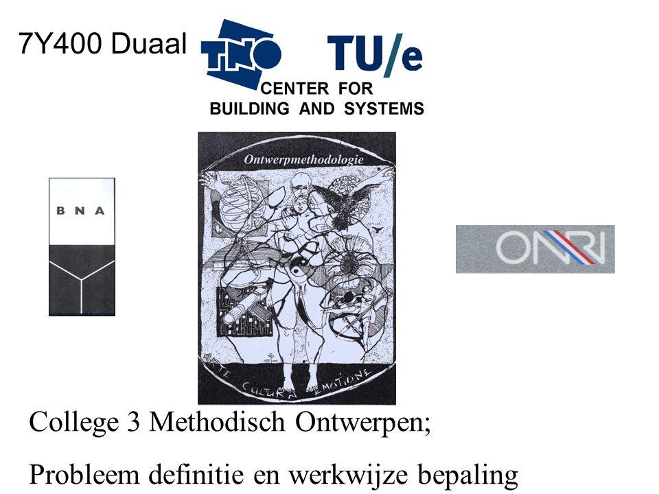 College 3 Methodisch Ontwerpen; Probleem definitie en werkwijze bepaling 7Y400 Duaal