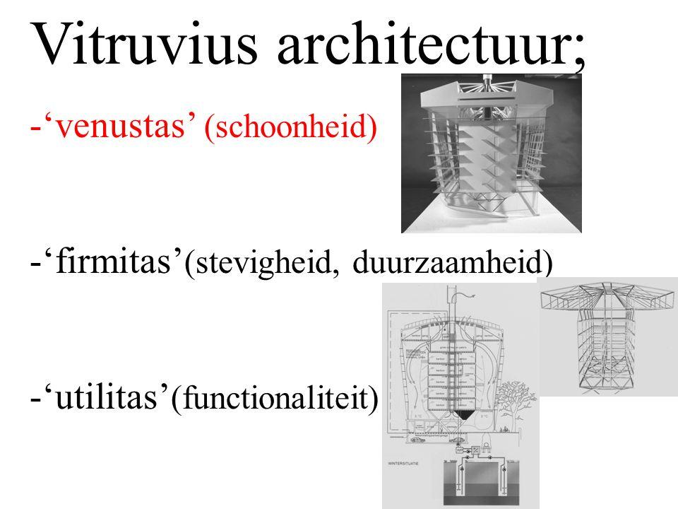 Vitruvius architectuur; -'venustas' (schoonheid) -'firmitas' (stevigheid, duurzaamheid) -'utilitas' (functionaliteit)