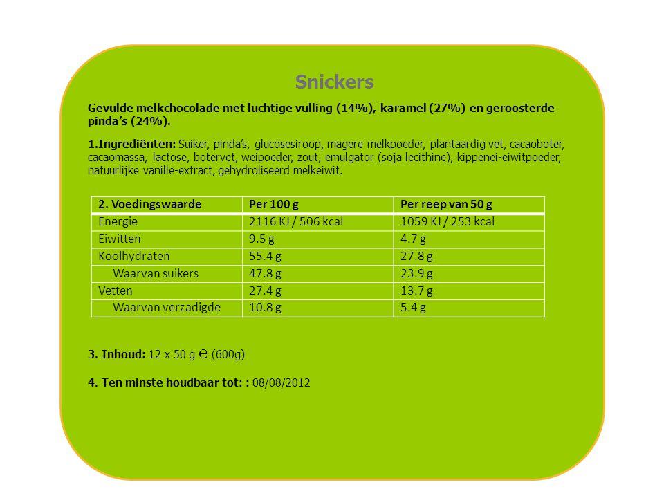 Snickers Gevulde melkchocolade met luchtige vulling (14%), karamel (27%) en geroosterde pinda's (24%). 1.Ingrediënten: Suiker, pinda's, glucosesiroop,