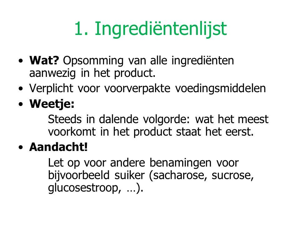 1. Ingrediëntenlijst Wat? Opsomming van alle ingrediënten aanwezig in het product. Verplicht voor voorverpakte voedingsmiddelen Weetje: Steeds in dale