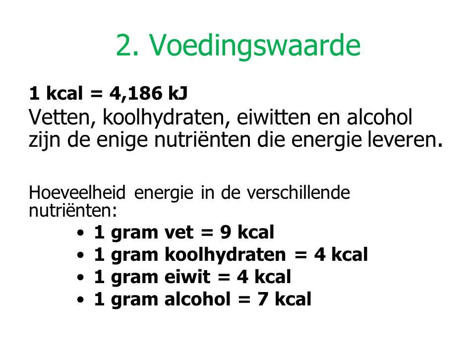 2. Voedingswaarde 1 kcal = 4,186 kJ Vetten, koolhydraten, eiwitten en alcohol zijn de enige nutriënten die energie leveren. Hoeveelheid energie in de
