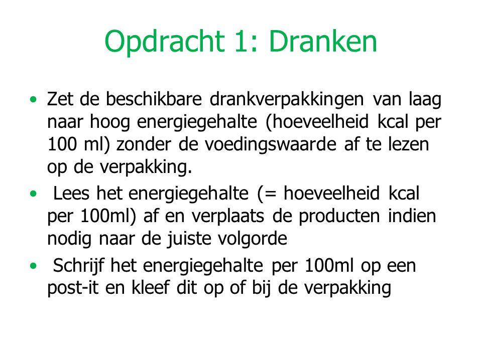 Opdracht 1: Dranken Zet de beschikbare drankverpakkingen van laag naar hoog energiegehalte (hoeveelheid kcal per 100 ml) zonder de voedingswaarde af t