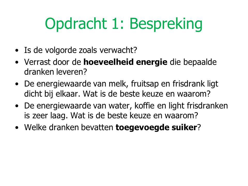 Opdracht 1: Bespreking Is de volgorde zoals verwacht? Verrast door de hoeveelheid energie die bepaalde dranken leveren? De energiewaarde van melk, fru