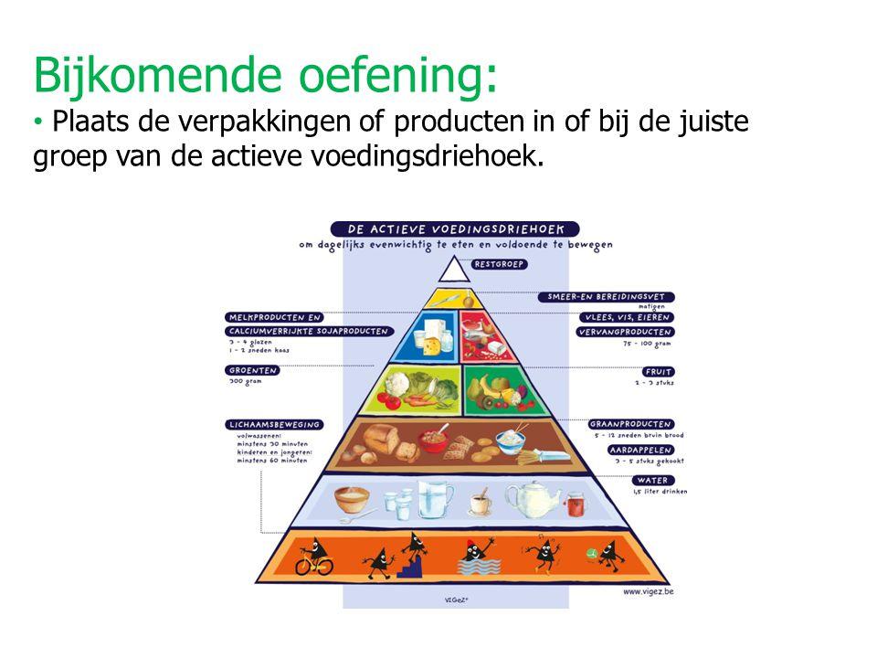 Bijkomende oefening: Plaats de verpakkingen of producten in of bij de juiste groep van de actieve voedingsdriehoek.