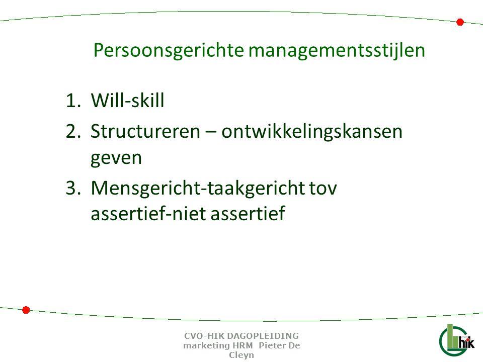 Persoonsgerichte managementsstijlen 1.Will-skill 2.Structureren – ontwikkelingskansen geven 3.Mensgericht-taakgericht tov assertief-niet assertief CVO