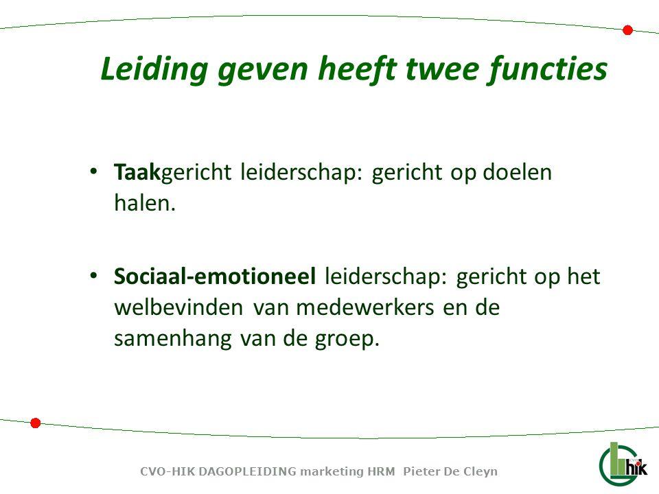 Persoonsgerichte managementsstijlen ontwikkeling van medewerkers- structureren CVO-HIK DAGOPLEIDING marketing HRM Pieter De Cleyn
