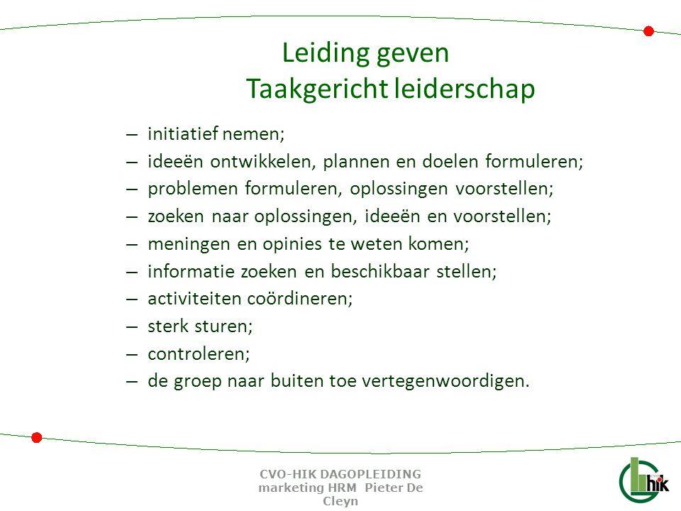 Leiding geven Taakgericht leiderschap – initiatief nemen; – ideeën ontwikkelen, plannen en doelen formuleren; – problemen formuleren, oplossingen voor
