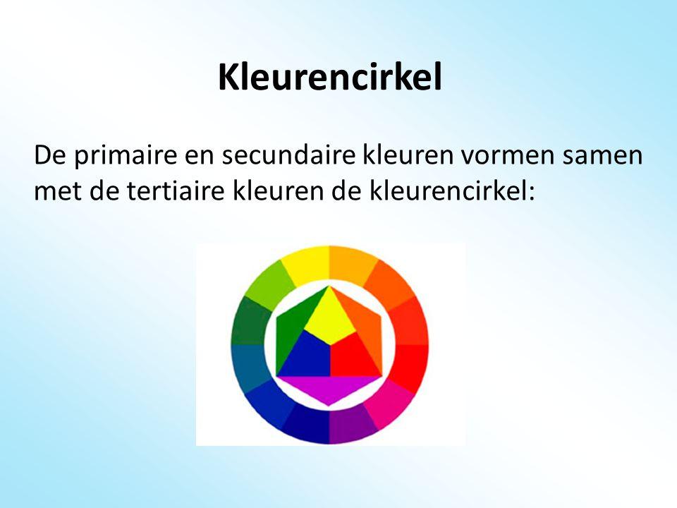 Complementaire kleuren De kleuren die tegenover elkaar liggen in de kleurencirkel noemen we de complementaire kleuren.