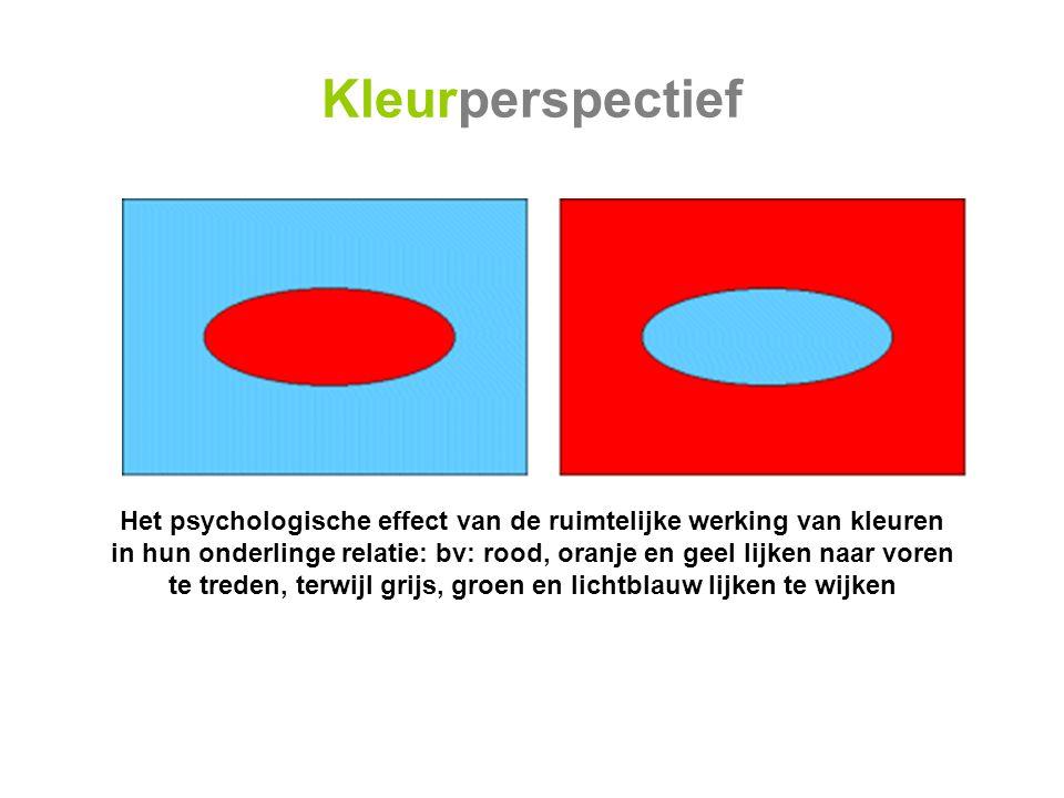 Het psychologische effect van de ruimtelijke werking van kleuren in hun onderlinge relatie: bv: rood, oranje en geel lijken naar voren te treden, terwijl grijs, groen en lichtblauw lijken te wijken Kleurperspectief