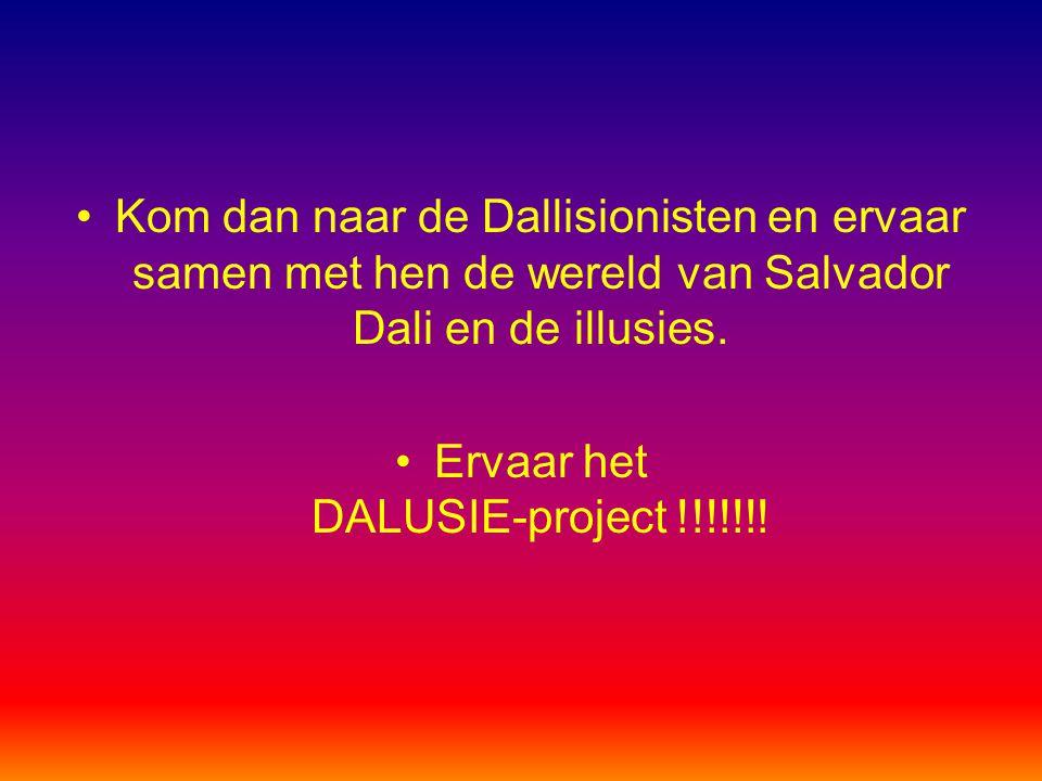 Kom dan naar de Dallisionisten en ervaar samen met hen de wereld van Salvador Dali en de illusies. Ervaar het DALUSIE-project !!!!!!!