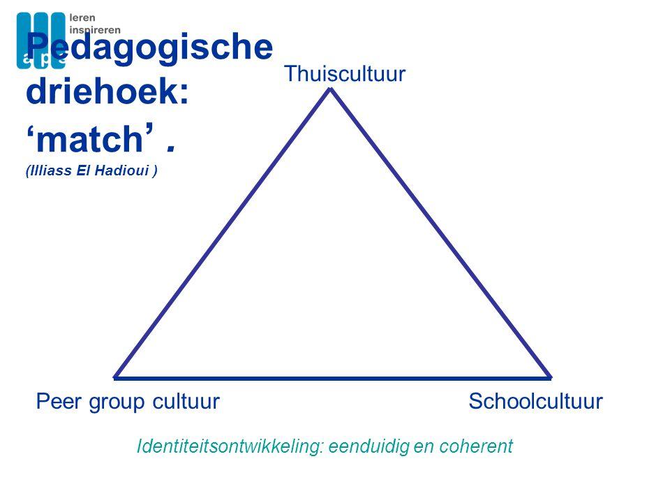 Thuiscultuur SchoolcultuurPeer group cultuur Pedagogische driehoek: 'match '. (Illiass El Hadioui ) Identiteitsontwikkeling: eenduidig en coherent