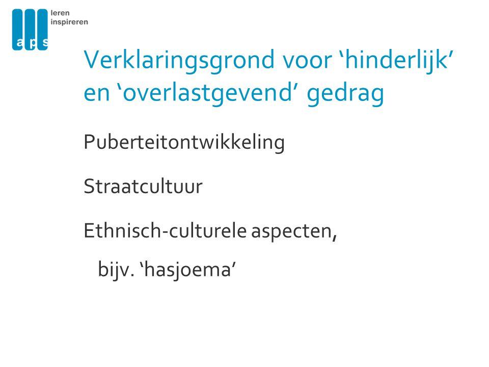 Verklaringsgrond voor 'hinderlijk' en 'overlastgevend' gedrag Puberteitontwikkeling Straatcultuur Ethnisch-culturele aspecten, bijv. 'hasjoema'