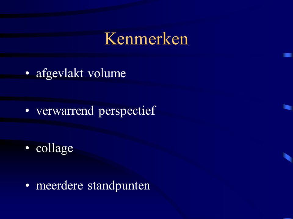 Kenmerken afgevlakt volume verwarrend perspectief collage meerdere standpunten