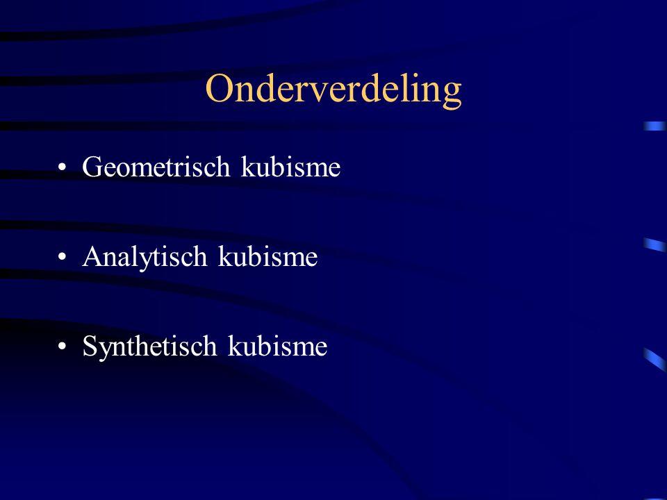 Onderverdeling Geometrisch kubisme Analytisch kubisme Synthetisch kubisme