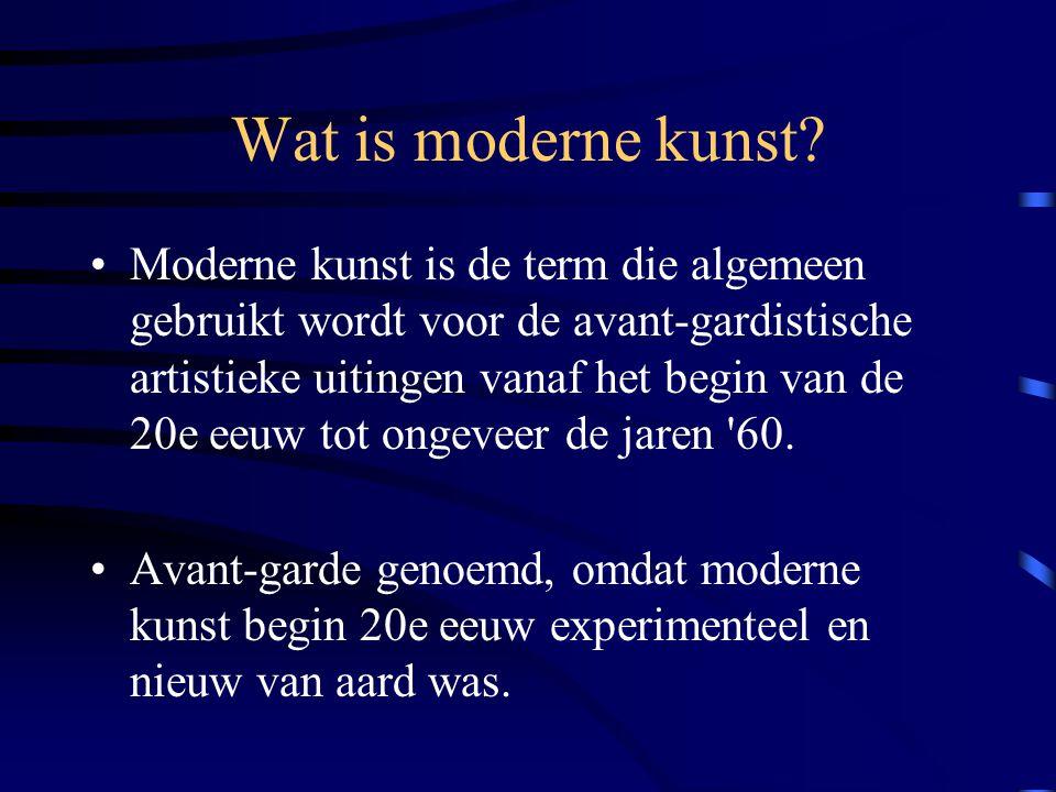 Moderne kunst is de term die algemeen gebruikt wordt voor de avant-gardistische artistieke uitingen vanaf het begin van de 20e eeuw tot ongeveer de ja