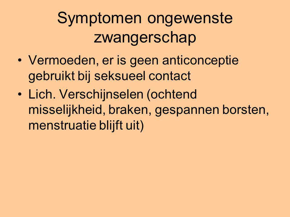 Symptomen ongewenste zwangerschap Vermoeden, er is geen anticonceptie gebruikt bij seksueel contact Lich. Verschijnselen (ochtend misselijkheid, brake