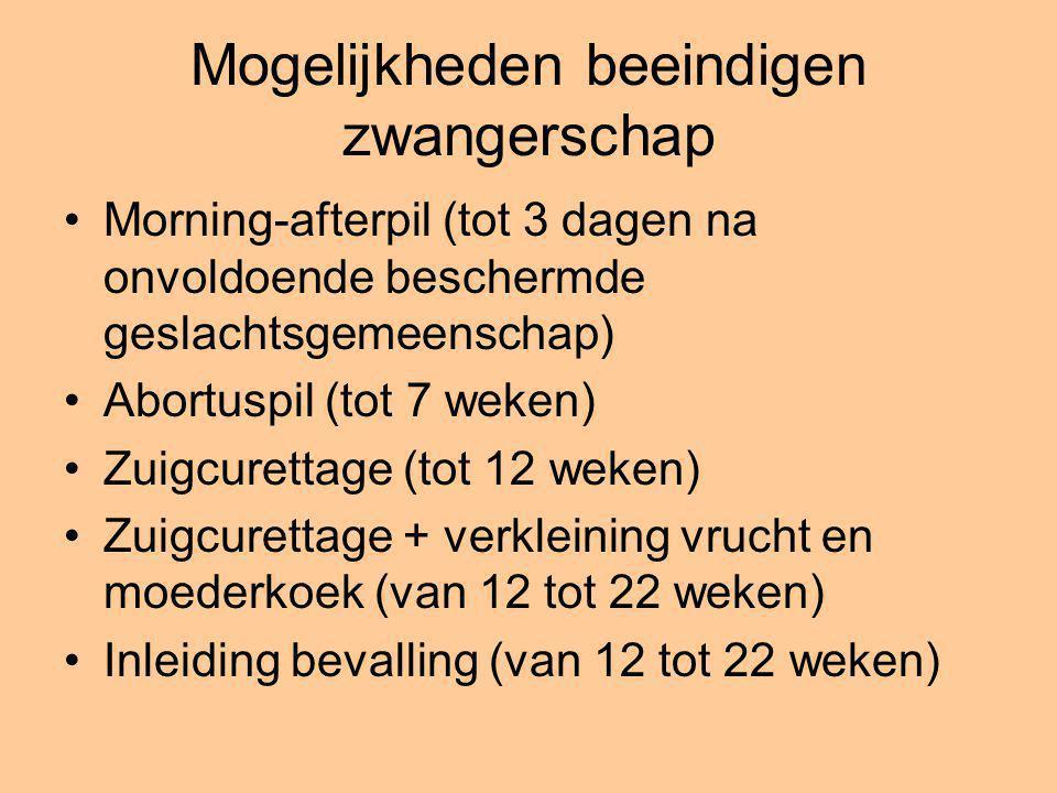 Mogelijkheden beeindigen zwangerschap Morning-afterpil (tot 3 dagen na onvoldoende beschermde geslachtsgemeenschap) Abortuspil (tot 7 weken) Zuigcuret