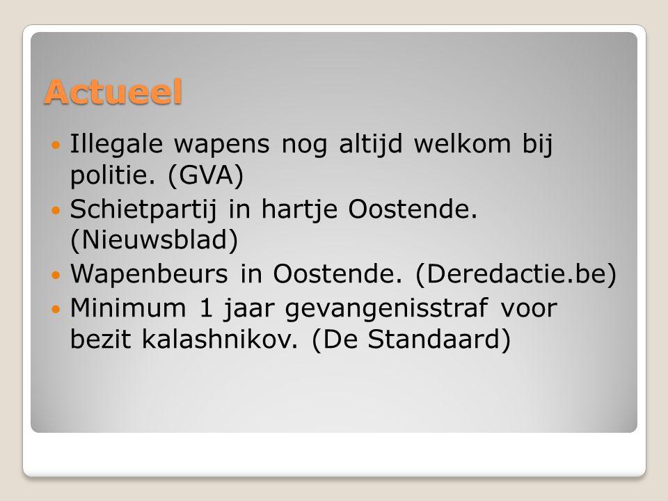 Actueel Illegale wapens nog altijd welkom bij politie. (GVA) Schietpartij in hartje Oostende. (Nieuwsblad) Wapenbeurs in Oostende. (Deredactie.be) Min