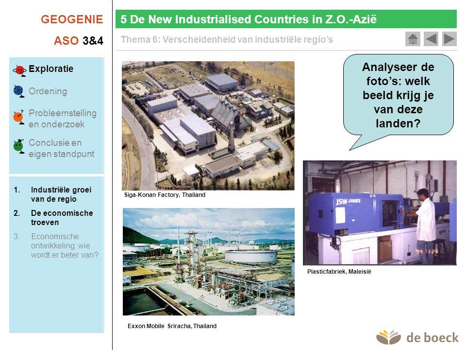 GEOGENIE ASO 3&4 Thema 6: Verscheidenheid van industriële regio's Analyseer de foto's: welk beeld krijg je van deze landen.