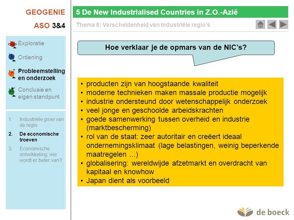 GEOGENIE ASO 3&4 Thema 6: Verscheidenheid van industriële regio's 5 De New Industrialised Countries in Z.O.-Azië Hoe verklaar je de opmars van de NIC's.