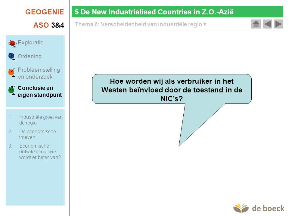 GEOGENIE ASO 3&4 Thema 6: Verscheidenheid van industriële regio's Hoe worden wij als verbruiker in het Westen beïnvloed door de toestand in de NIC's.