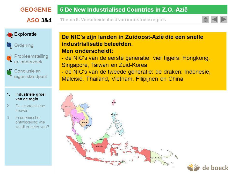 GEOGENIE ASO 3&4 Thema 6: Verscheidenheid van industriële regio's 5 De New Industrialised Countries in Z.O.-Azië De NIC s zijn landen in Zuidoost-Azië die een snelle industrialisatie beleefden.