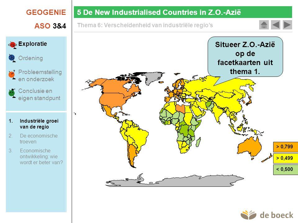 GEOGENIE ASO 3&4 Thema 6: Verscheidenheid van industriële regio's Situeer Z.O.-Azië op de facetkaarten uit thema 1. 5 De New Industrialised Countries