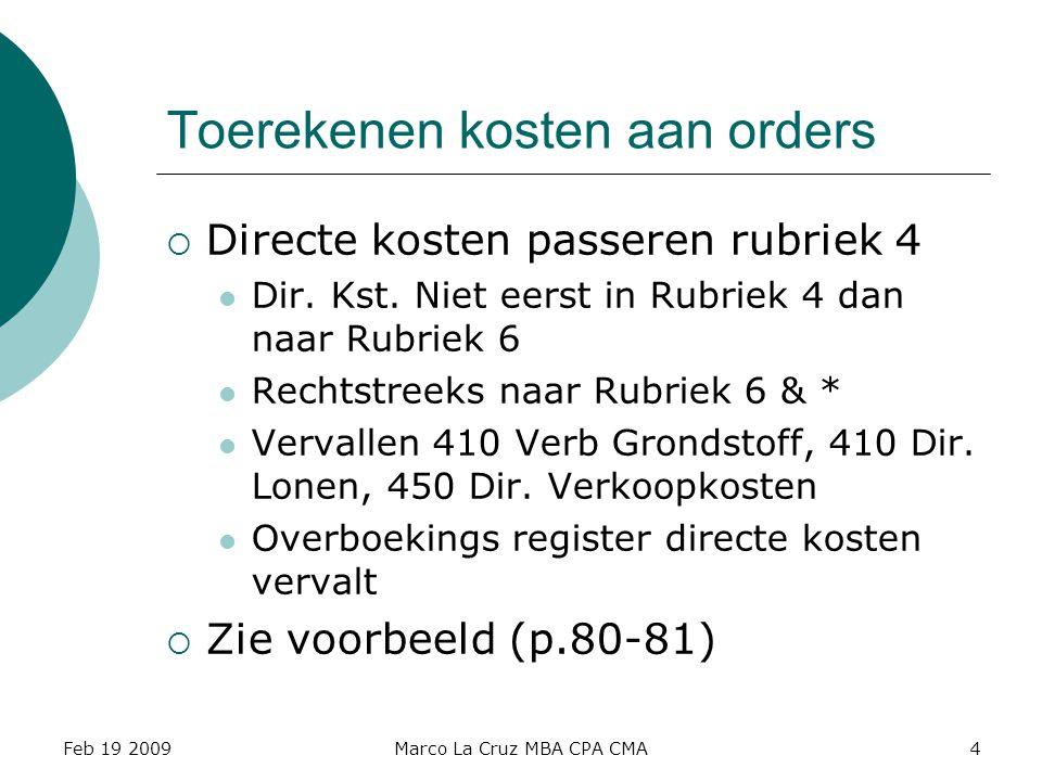 Feb 19 2009Marco La Cruz MBA CPA CMA4 Toerekenen kosten aan orders  Directe kosten passeren rubriek 4 Dir. Kst. Niet eerst in Rubriek 4 dan naar Rubr