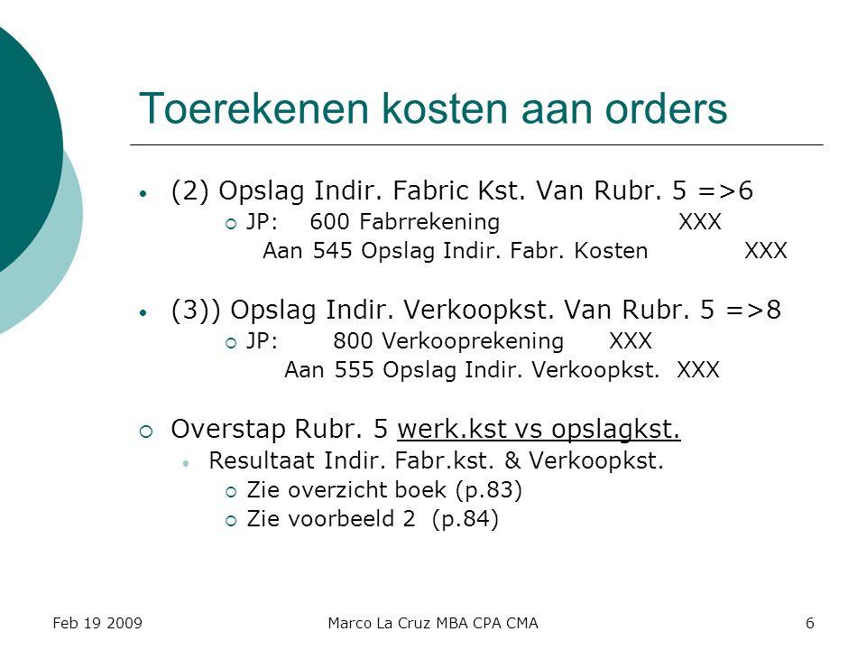 Feb 19 2009Marco La Cruz MBA CPA CMA6 Toerekenen kosten aan orders (2) Opslag Indir. Fabric Kst. Van Rubr. 5 =>6  JP: 600 Fabrrekening XXX Aan 545 Op