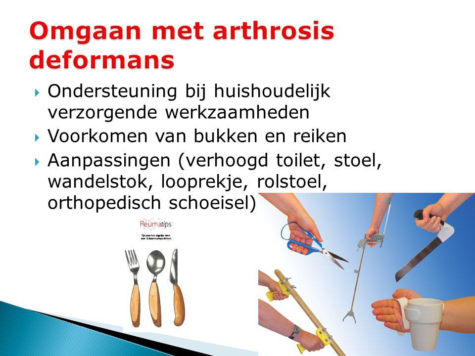  Ondersteuning bij huishoudelijk verzorgende werkzaamheden  Voorkomen van bukken en reiken  Aanpassingen (verhoogd toilet, stoel, wandelstok, loopr