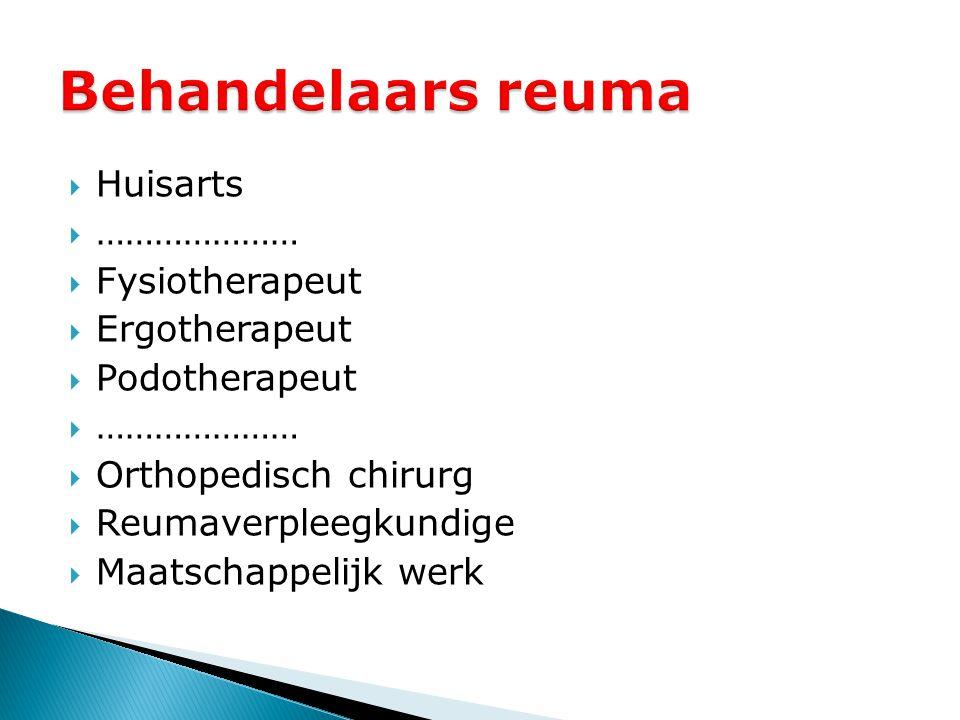  Huisarts  …………………  Fysiotherapeut  Ergotherapeut  Podotherapeut  …………………  Orthopedisch chirurg  Reumaverpleegkundige  Maatschappelijk werk