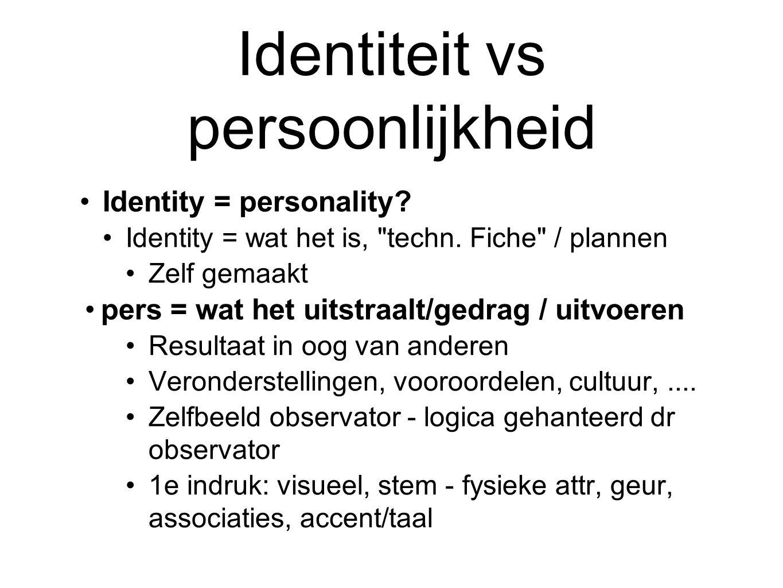 Identiteit vs persoonlijkheid Identity = personality.