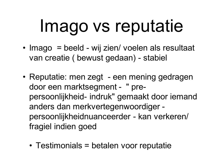 Imago vs reputatie Imago = beeld - wij zien/ voelen als resultaat van creatie ( bewust gedaan) - stabiel Reputatie: men zegt - een mening gedragen door een marktsegment - pre- persoonlijkheid- indruk gemaakt door iemand anders dan merkvertegenwoordiger - persoonlijkheidnuanceerder - kan verkeren/ fragiel indien goed Testimonials = betalen voor reputatie