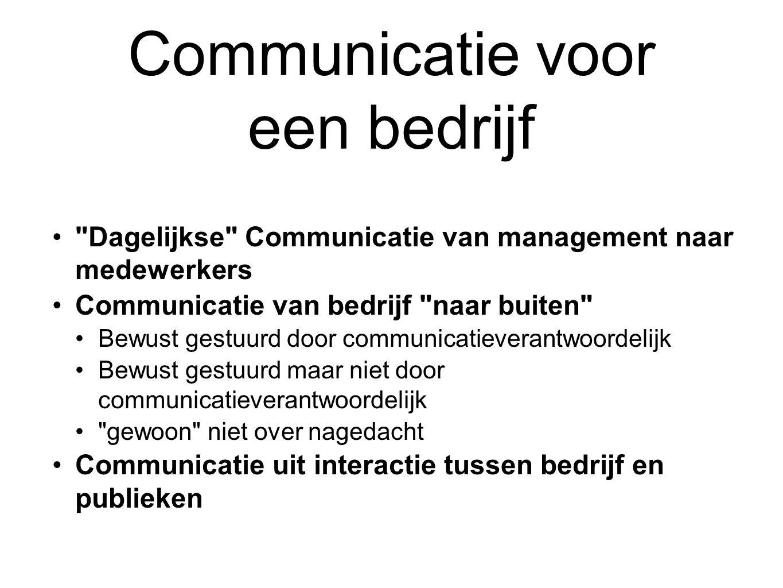 Communicatie voor een bedrijf Dagelijkse Communicatie van management naar medewerkers Communicatie van bedrijf naar buiten Bewust gestuurd door communicatieverantwoordelijk Bewust gestuurd maar niet door communicatieverantwoordelijk gewoon niet over nagedacht Communicatie uit interactie tussen bedrijf en publieken