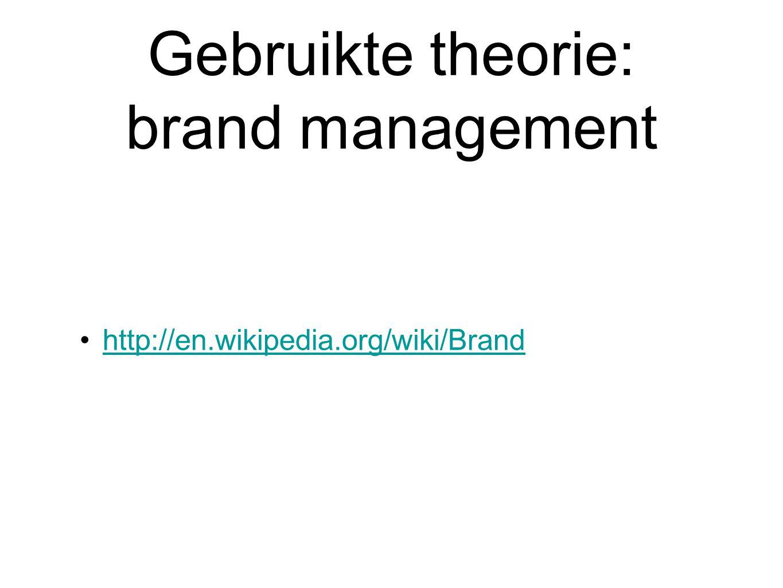 Gebruikte theorie: brand management http://en.wikipedia.org/wiki/Brand