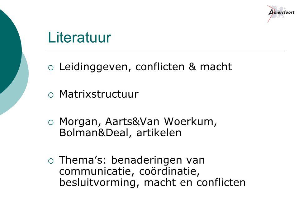 Literatuur  Leidinggeven, conflicten & macht  Matrixstructuur  Morgan, Aarts&Van Woerkum, Bolman&Deal, artikelen  Thema's: benaderingen van communicatie, coördinatie, besluitvorming, macht en conflicten