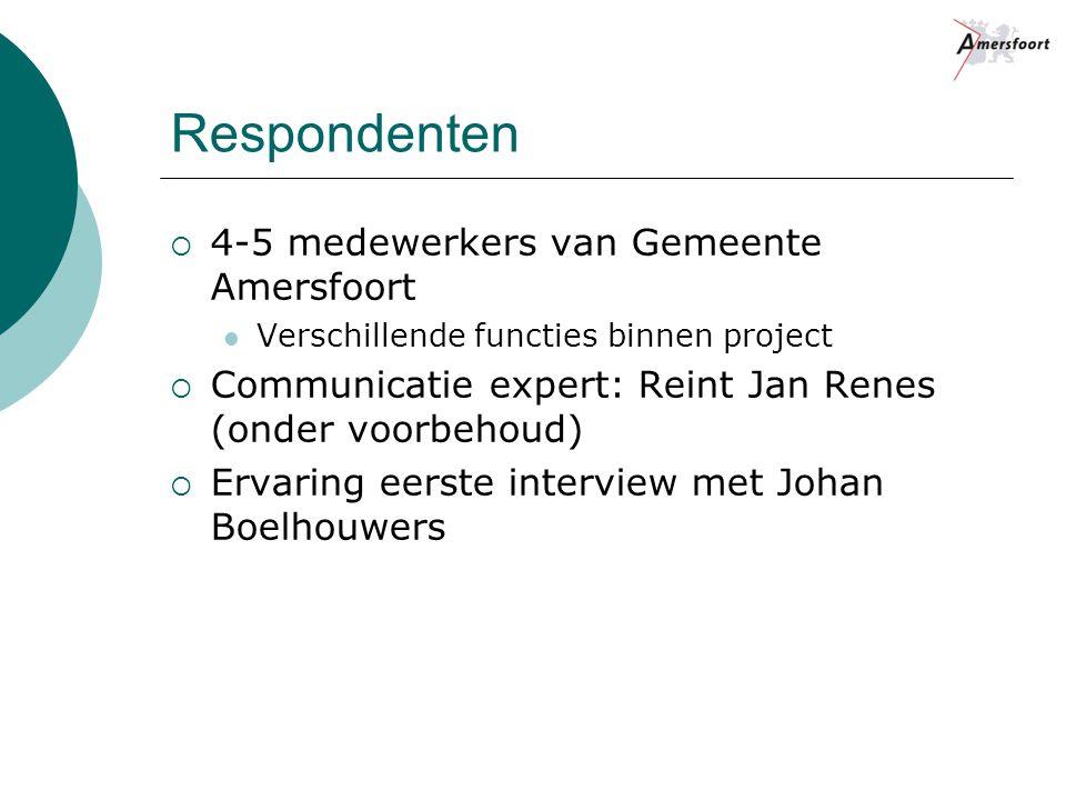 Respondenten  4-5 medewerkers van Gemeente Amersfoort Verschillende functies binnen project  Communicatie expert: Reint Jan Renes (onder voorbehoud)  Ervaring eerste interview met Johan Boelhouwers