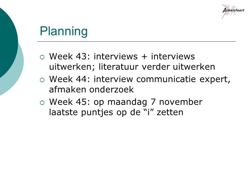 Planning  Week 43: interviews + interviews uitwerken; literatuur verder uitwerken  Week 44: interview communicatie expert, afmaken onderzoek  Week 45: op maandag 7 november laatste puntjes op de i zetten