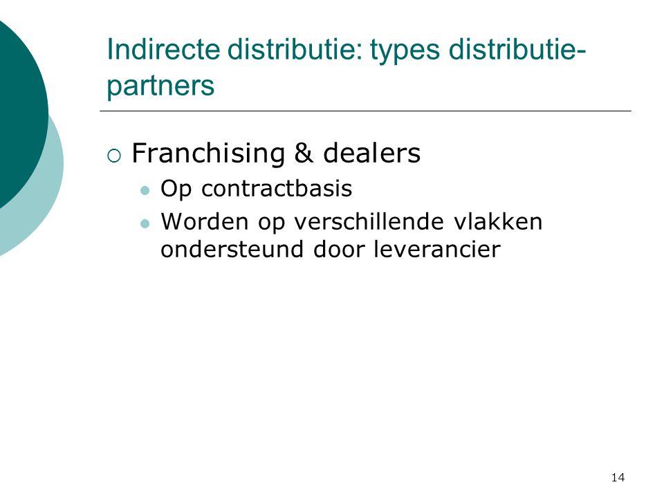 14 Indirecte distributie: types distributie- partners  Franchising & dealers Op contractbasis Worden op verschillende vlakken ondersteund door leverancier