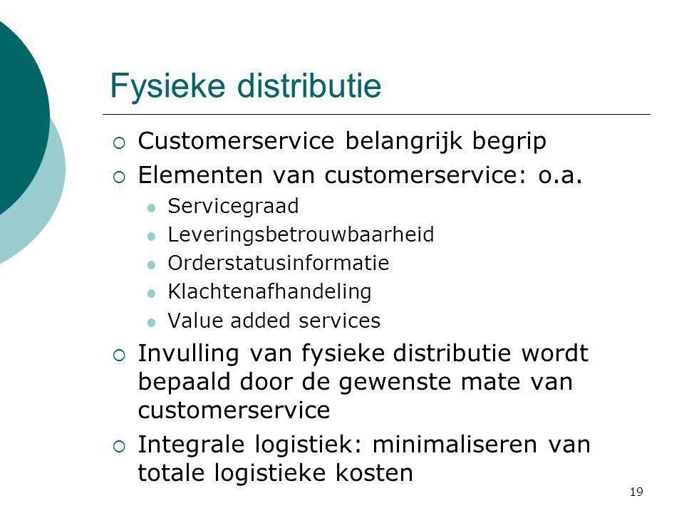 19 Fysieke distributie  Customerservice belangrijk begrip  Elementen van customerservice: o.a.