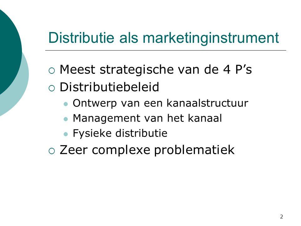 2 Distributie als marketinginstrument  Meest strategische van de 4 P's  Distributiebeleid Ontwerp van een kanaalstructuur Management van het kanaal Fysieke distributie  Zeer complexe problematiek