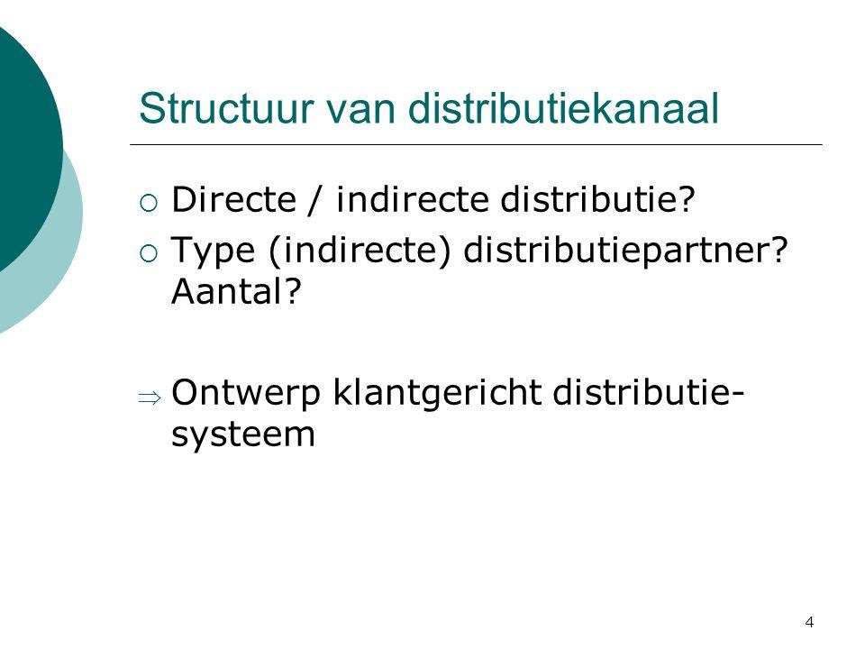 4 Structuur van distributiekanaal  Directe / indirecte distributie.