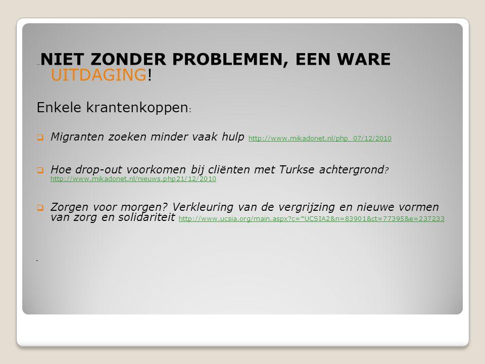 … NIET ZONDER PROBLEMEN, EEN WARE UITDAGING! Enkele krantenkoppen :  Migranten zoeken minder vaak hulp http://www.mikadonet.nl/php 07/12/2010  Hoe d
