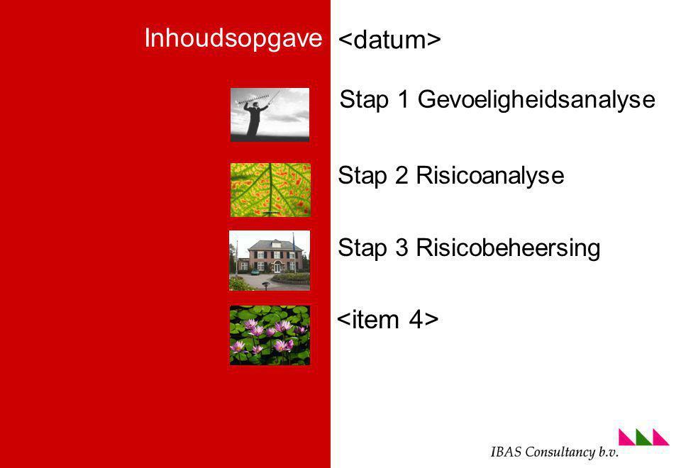 foto voettekst (ga naa menu beeld om aan te passen) Stap 2 Risicoanalyse Stap 3 Risicobeheersing Inhoudsopgave Stap 1 Gevoeligheidsanalyse