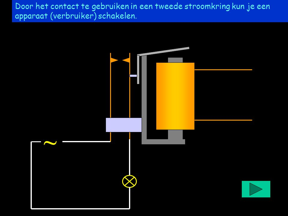 Project easyrelais Door het contact te gebruiken in een tweede stroomkring kun je een apparaat (verbruiker) schakelen. ~